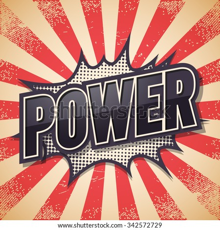 Retro poster, Power, Vector illustration. - stock vector