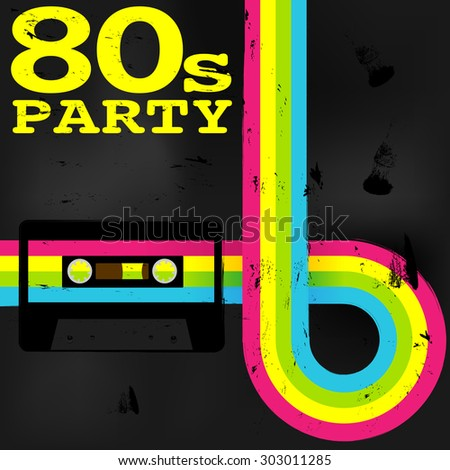 Retro Poster - 80s Party Flyer With Audio Cassette Tape