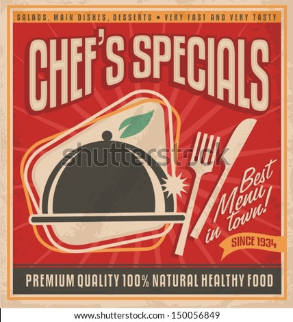 Retro poster template for best restaurant in town. Tasty and delicious food label design. Vintage background  concept with classic design elements on old paper texture. Vector printing material. - stock vector