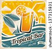 Retro poster template for tropical bar. Grunge seaside old paper card with cold drink and palm tree. - stock vector