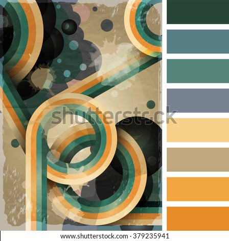 Retro poster template with bubbles, circles, lines and paint splashes. 1960s, 70s style grunge background. In a colour palette with complimentary colour swatches. EPS10 vector format