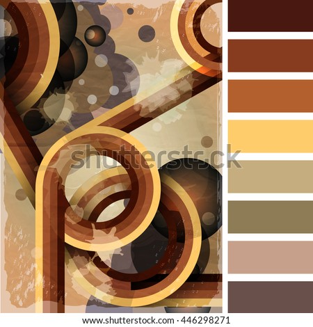 Retro poster template with bubbles, circles, lines and paint splashes. 1960s, 70s style grunge background. In a colour palette with complimentary colour swatches. EPS10 vector format - stock vector