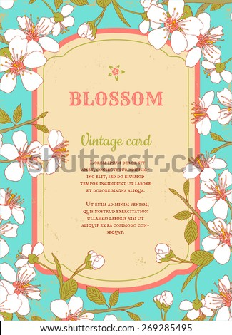 Retro poster with cherry blossom - stock vector