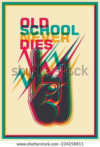 Retro poster with gesturing hand. Vector illustration. - stock vector
