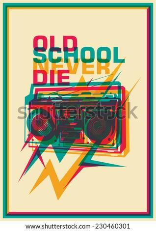 Retro poster with ghetto blaster. Vector illustration. - stock vector