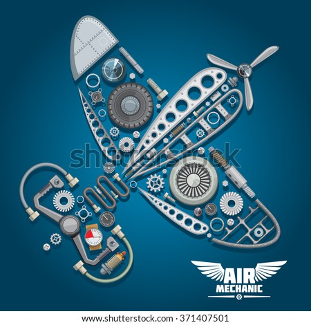 Retro propeller airplane, composed of wings body, reduction gear, propeller, pilot control wheel, pressure hoses, distributor valve, landing gear, colorful gauges, bolts and screws - stock vector
