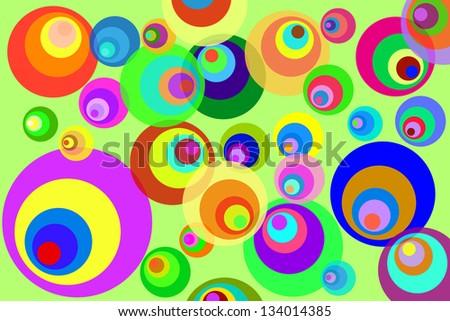 Retro Psychedelic Disco Circles Background - stock vector