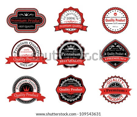 Retro quality labels in black and red colors. Jpeg version also available in gallery - stock vector
