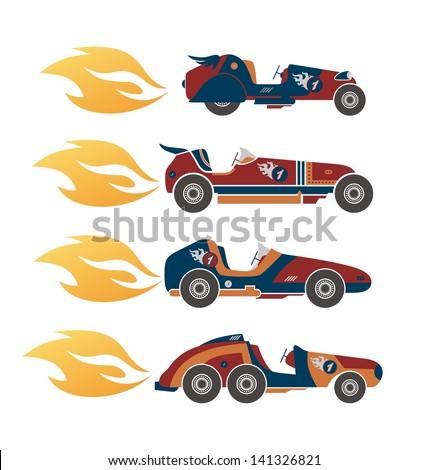 retro race car fire speed - stock vector