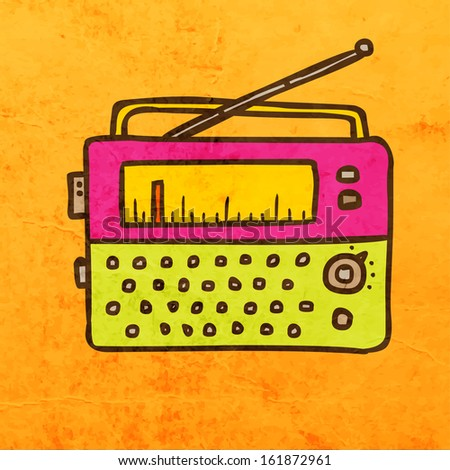 Retro Radio. Cute Hand Drawn Vector illustration, Vintage Paper Texture Background - stock vector
