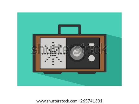 Retro radio flat cyan or green icon with shadow. - stock vector