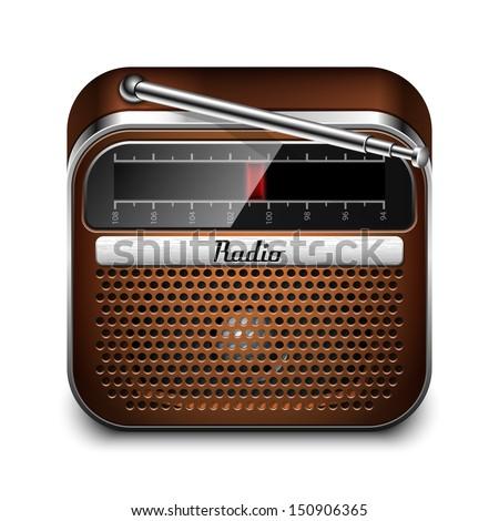 Retro Radio Icon - stock vector