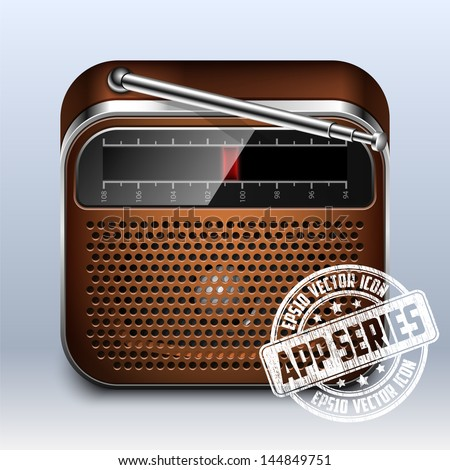 Retro Radio Icon. App Series