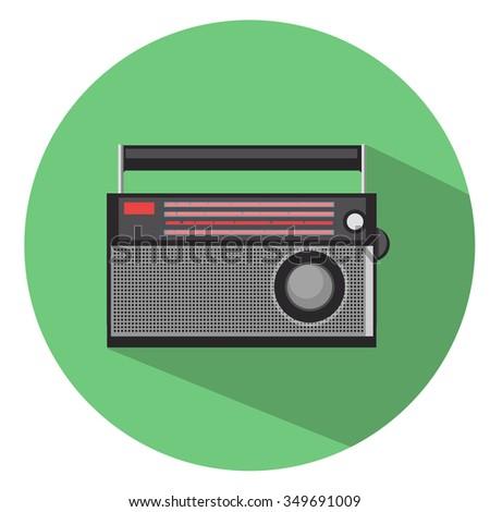 retro radio icon - flat icon - stock vector