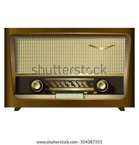 retro radio isolated on a white background - stock vector