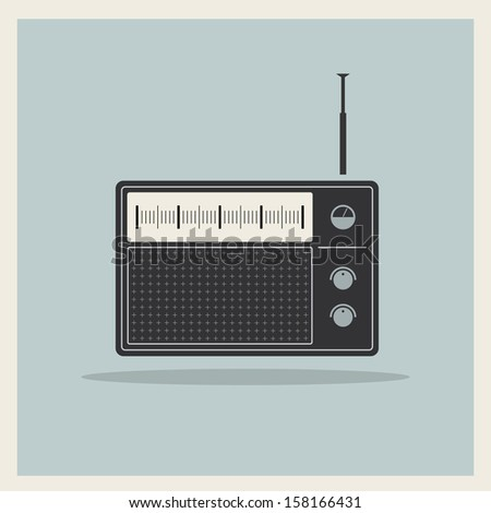 Retro radio receiver vector - stock vector