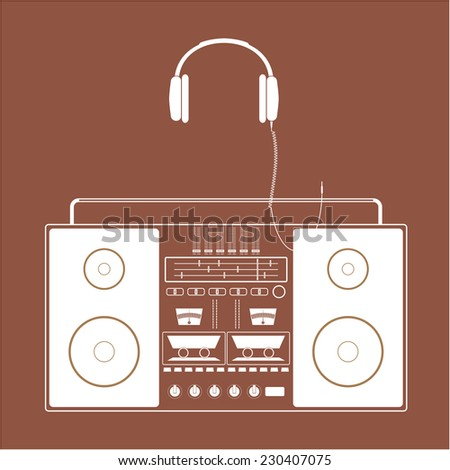 Retro radio tape recorder and old headphones. - stock vector