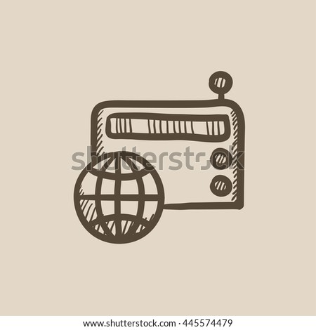 Retro radio vector sketch icon isolated on background. Hand drawn Retro radio icon. Retro radio sketch icon for infographic, website or app. - stock vector