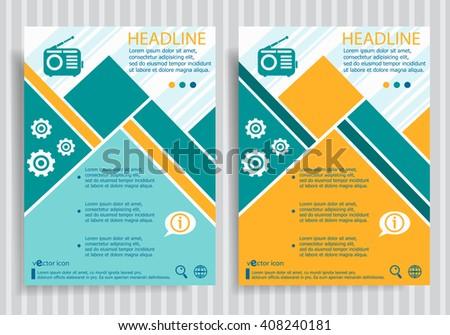 Retro radio web symbol on vector brochure flyer design layout template. Business modern template - stock vector