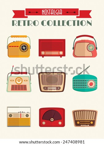 Retro radios collection poster (flat design) A poster with nine colorful radios. - stock vector