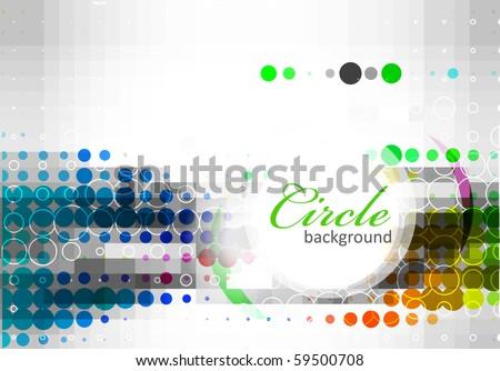 Retro rainbow circle pattern background, vector illustration - stock vector