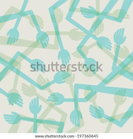 retro random hand pattern background vector - stock vector