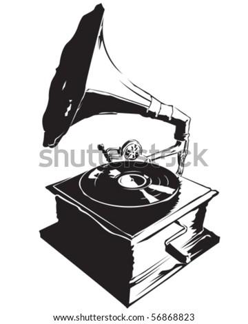 Retro Record Player - stock vector