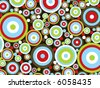 retro red, green, blue, white circles and rings pattern (vector) - stock photo