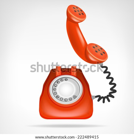 retro red phone with handset up vector isolated illustration - stock vector