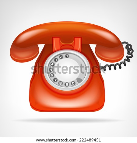retro red phone with handset vector isolated illustration - stock vector