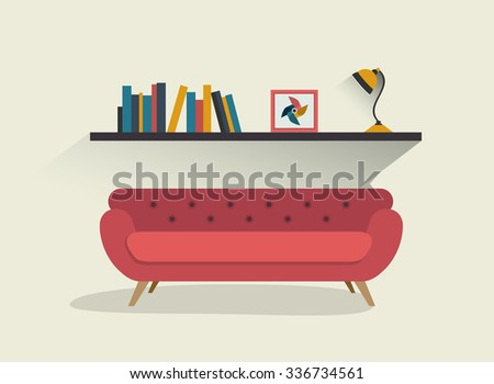 Retro red sofa and book shelf with lamp. Flat design vector illustration. - stock vector