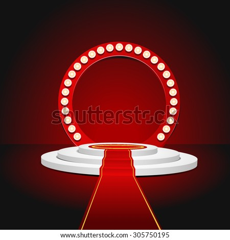 Retro red stage podium for award ceremony. Vector illustration eps 10 - stock vector