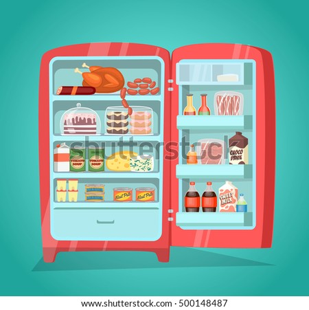 Retro Refrigerator Full Of Food Vintage Fridge Filled With Daily Products Vector Illustration Saving