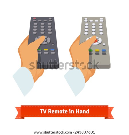 Retro remote control in hand. Flat style illustration. - stock vector