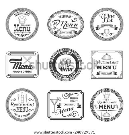 Retro restaurant cocktail sushi bar menu labels set isolated vector illustration - stock vector