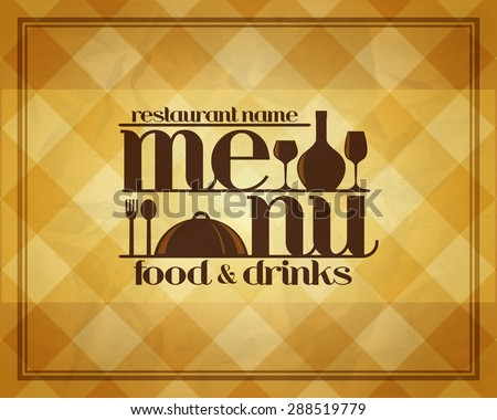 Retro Restaurant food and drinks menu design style - stock vector