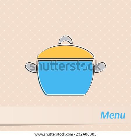 Retro restaurant menu design with cooking pot - stock vector