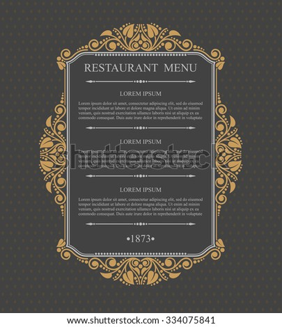 Retro Restaurant Menu Typographic design elements, Calligraphic graceful template, Business sign for Royalty, Menu,  Boutique, Restaurant, Cafe, Hotel, Heraldic, Jewelry, Wine - stock vector