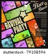 Retro' revival disco party flyer or poster for musical event - stock