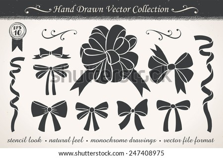 Retro ribbons and bows - stock vector
