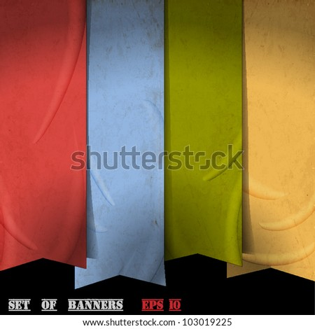 Retro ribbons banners made of old paper - stock vector