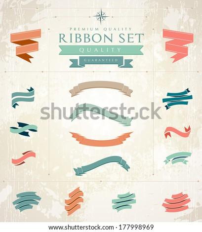Retro ribbons set - stock vector