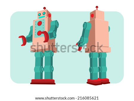 retro robot old toy collection in vintage style  - stock vector