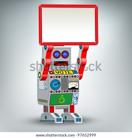 Retro robot toy illustration with table - stock vector