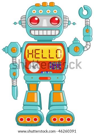 Retro robot toy waving hello - stock vector