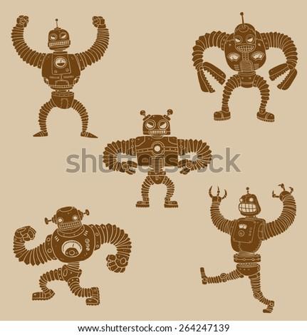 Retro  robots set, vector  - stock vector