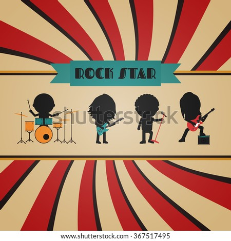 retro rock band poster, vintage style - stock vector