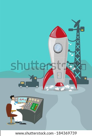 Retro Rocket Ready to Launch. Ground Control Scientist. - stock vector