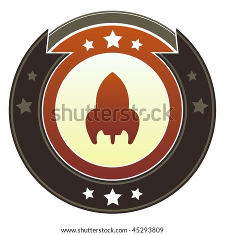 Retro rocket ship icon on round red and brown imperial vector button with star accents - stock vector