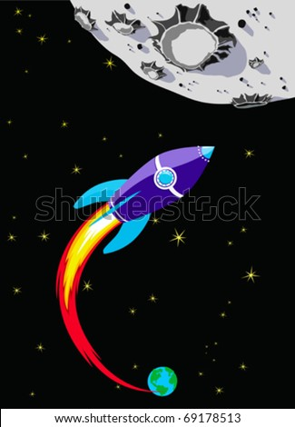 Retro Rocket Spaceship to the Moon - Reach for the stars - stock vector
